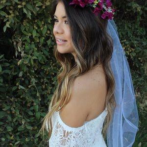 Flower crown wedding veil